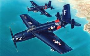 Picture war, art, airplane, painting, aviation, Grumman AF Guardian