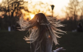 Picture girl, sunset, mood, evening, Xenia