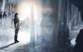 Picture ice, girl, light, bow, cave, arrows, lara croft, tomb raider, Rise of the Tomb Raider