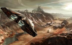 Wallpaper the game, ship, flight, station, starship, base, space simulator, fiction, Elite Dangerous, landscape