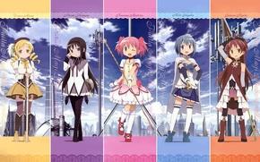 Wallpaper weapons, Tomoe Mami, sorceress, sakura kyoko, mahou shoujo madoka magica, homura akemi, madoka kaname, friend, ...