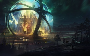 Picture night, castle, fiction, sphere, Fantasy, art, beautiful pictures, tuomas korpi
