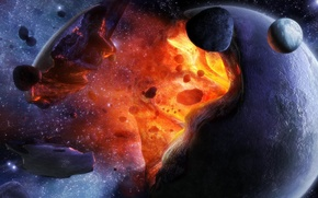 Picture space, the explosion, fragments, the universe, planet