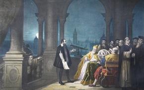 Picture picture, painting, painting, 1609, Leonardo Donato, Galileo Galilei displaying his telescope