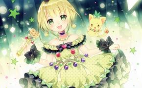 Picture light, kitty, peas, girl, bow, rod, sorceress, stars, art, wasabi, ruffles, the fluffy skirt