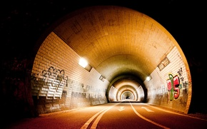 Picture road, graffiti, The city, lighting, art, the tunnel