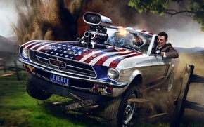 Picture the explosion, gun, Ford Mustang, art, Ronald Reagan