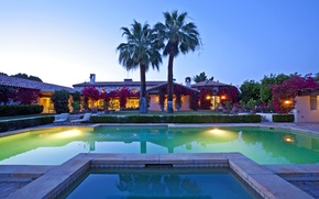 Picture palm trees, the evening, pool, ranch, rancho Mirage