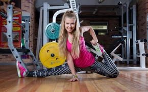 Wallpaper the gym, smile, exercise, stretching, girl, style