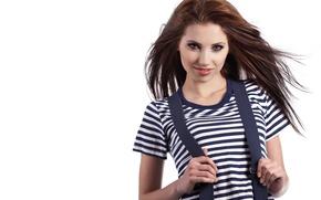 Picture girl, mood, sailor, beautiful, vest, braces, loose, hair., sea, wind