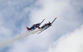 Picture the sky, clouds, flight, trail, two, aircraft