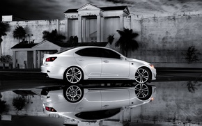 Picture white, reflection, Lexus, Lexus, IS 350, b\W photo, F Sport