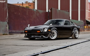 Picture nissan, wheels, black, 240z, japan, jdm, tuning, front, classic, face, low, nismo, stance, datsun, firelady, …