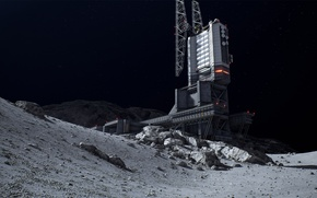 Picture space, fiction, the moon, the building, space station