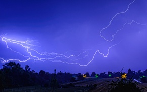 Picture field, the sky, blue, lightning, the fence, road, lamppost, farm