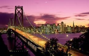 Wallpaper night, a month, bridge