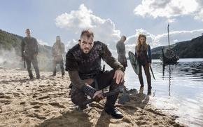 Picture the series, characters, the fjord, Vikings, The Vikings, Katheryn Winnick, Travis Fimmel, Ragnar Lodbrok