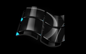 Wallpaper glass, black, logo, windows