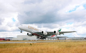 Picture The sky, The plane, Day, A380, The rise, Airbus, Huge, Airliner, Emirates Airline