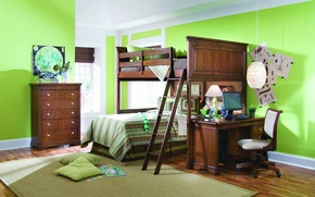 Picture room, wallpapers, interior, apartment, chair, bed, Wallpaper, table, green, computer, carpet, background, lamp, pillow, mirror, ...
