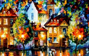 Picture trees, landscape, the city, people, overcast, street, paint, color, home, picture, umbrella, Leonid Afremov