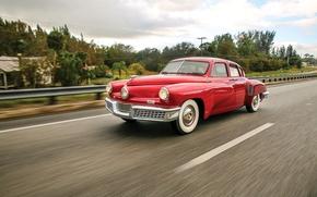 Picture Red, Retro, Movement, Car, 1948, Sedan, Metallic, Tucker