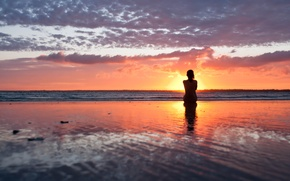 Picture sea, beach, girl, sunset, the evening, silhouette