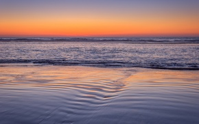 Picture sea, sunset, paint, shore, the evening, tide, Oregon, USA, Agate Beach