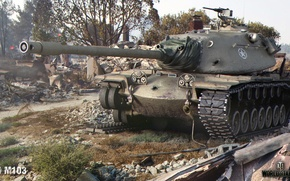 Picture caterpillar, the city, tank, ruins, American, heavy, World of Tanks, M103, downed