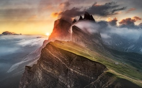Picture Light, Clouds, Mountain, Alps, Fog, Dolomites