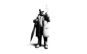 Picture hat, umbrella, cigar, character, Batman arkham city, cobblepot