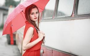 Picture girl, rain, umbrella, bus