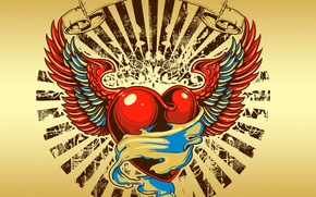 Picture love, heart, wings, tribal, tribal