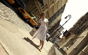 Wallpaper street, girl, Romain Laurent, New York, taxi, dress, tilt