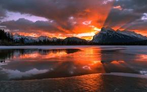 Wallpaper winter, snow, mountains, dawn, morning, Canada, Albert, Banff national Park, AGON