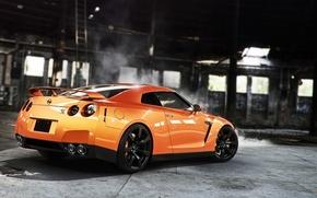 Picture Orange, Nissan, GT-R, Car, Smoke, Sport, Wheels, Rear