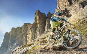 Picture mountains, sport, athlete, nature, hills, man, mountain bike, cyclist