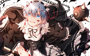 Picture girl, blood, the demon, anime, the maid, art, Rem, Re: Zero kara hajime chip isek …
