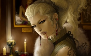 Picture girl, decoration, blood, candles, art, vampire, fur