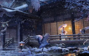 Picture winter, girl, snow, house, umbrella, anime, art, kimono, storks, lost elle, tsuru no ongaeshi