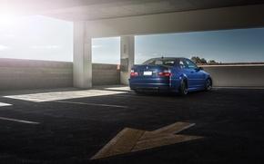 Picture blue, bmw, BMW, arrow, Parking, blue, back, e46