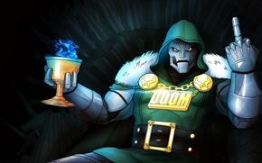 Picture mask, villain, cloak, gesture, Cup, marvel comics, doom, victor von doom, fantastic four