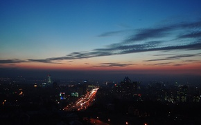 Picture road, sunset, lights, the evening, Almaty