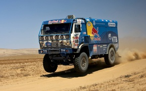 Picture Speed, Truck, Lights, Red Bull, KAMAZ, Rally, KAMAZ, Dakar, Power, The front, Freeze