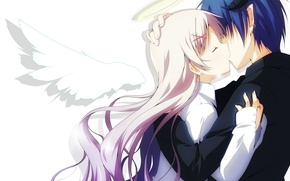Picture girl, wings, kiss, angel, anime, the demon, tears, art, pair, horns, guy, two, halo, yuzuki …