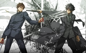 Picture gun, weapons, cross, anime, costume, tie, guys, coat, fate/zero, Kotomine Kirei, Emiya Kiritsu Let