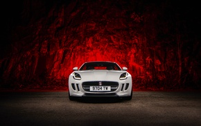 Picture Jaguar, Red, Car, Front, White, Sport, F-Type, Ligth