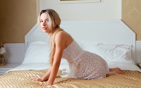Picture bed, blonde, bed, blonde, bed, Natalia B