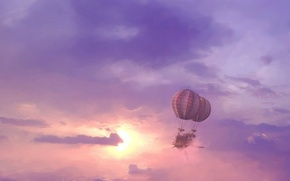 Picture the sun, clouds, the airship