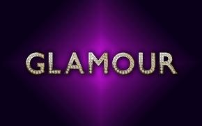 Wallpaper purple, letters, diamonds, luxury, glamour, design by Marika, background, gold